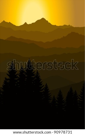 vector evening in mountains