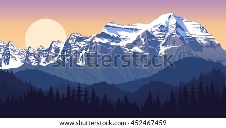 vector evening mountains landscape - stock vector
