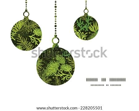 Vector evergreen christmas tree Christmas ornaments silhouettes pattern frame card template - stock vector