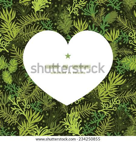 Vector evergreen christmas tree heart silhouette pattern frame - stock vector
