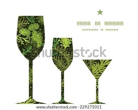 Vector evergreen christmas tree three wine glasses silhouettes pattern frame - stock vector