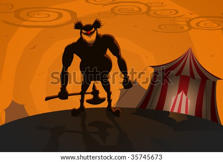 Vector evil clown with circus on background, Halloween theme - stock vector