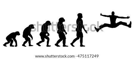 Vector evolution sport silhouette on white background