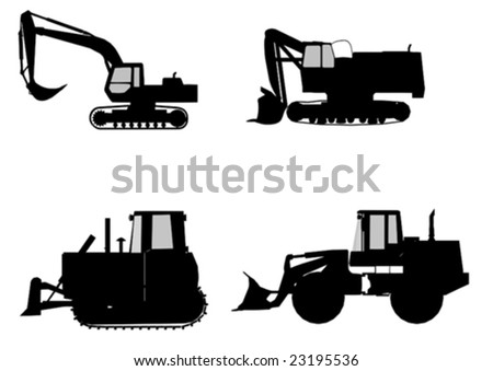 vector excavator and  bulldozer isolated on white - stock vector