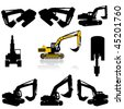 vector excavator silhouette set - stock vector