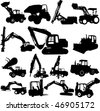 vector excavator silhouette set - stock photo