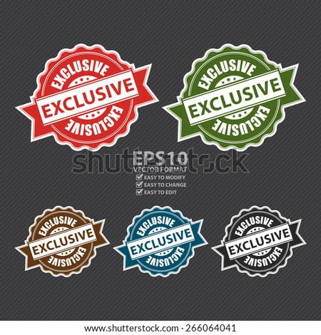Vector : Exclusive Ribbon, Badge, Label, Sticker, Banner, Sign or Icon - stock vector