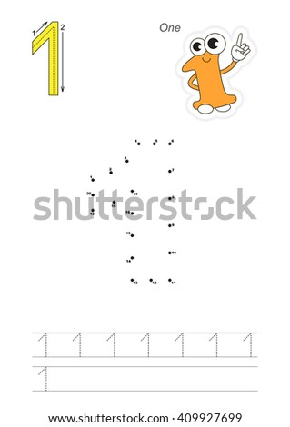 Vector exercise illustrated alphabet. Learn handwriting. Connect dots by numbers. Tracing worksheet for figure One. Figures and fingers. - stock vector