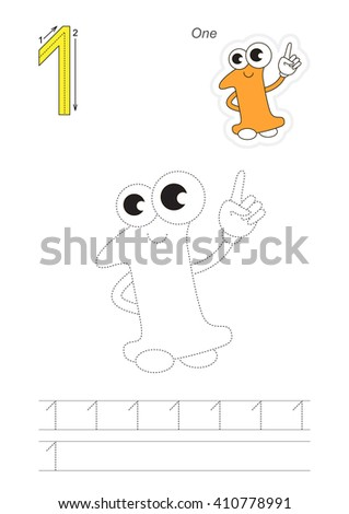 Vector exercise illustrated alphabet. Learn handwriting. Page to be traced. Complete english alphabet. Tracing worksheet for figure One. Figures and fingers. - stock vector