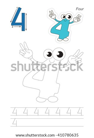 Vector exercise illustrated alphabet. Learn handwriting. Page to be traced. Complete english alphabet. Tracing worksheet for figure Four - stock vector