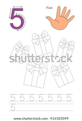Vector exercise illustrated alphabet. Learn handwriting. Page to be traced. Complete english alphabet. Tracing worksheet for figure Five - stock vector