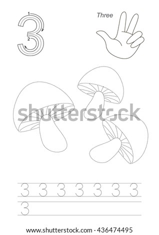 Vector exercise illustrated Figures from Zero to Twelve. Learn handwriting. Kid tracing game. Education and gaming. Page to be traced. Tracing worksheet for figure 3. - stock vector