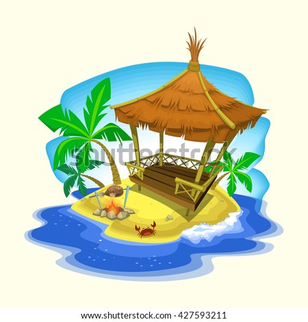 Vector Exotic Gazebo Cottage In Summer Vacation Beach With Palm Tree Fish Barbecue And Crab Illustration