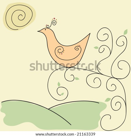 Vector exotic retro bird in sun on swirly vine / tree