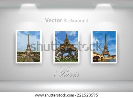 Vector exposition of Eiffel Tower photos. Fully editable eps10 - stock vector