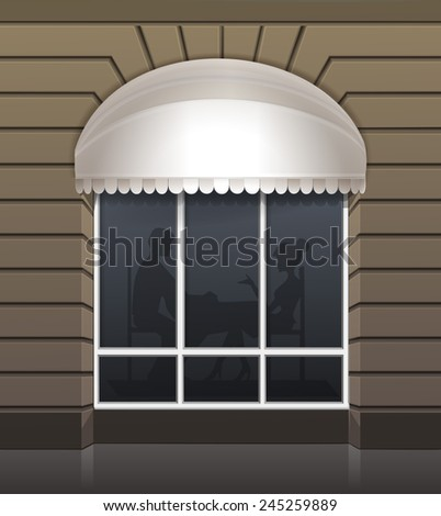 Vector Exterior of Restaurant Cafe Front with Big Window and Place for Name - stock vector
