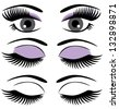 vector eyes with long lashes and make up - stock vector