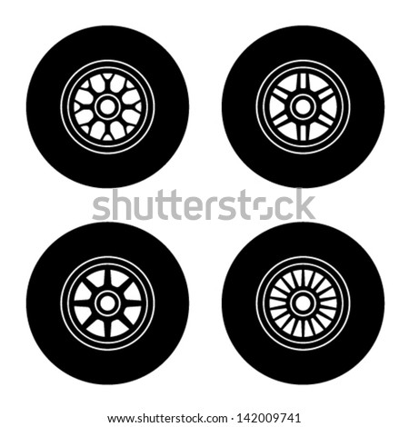 vector F1 wheel symbols - stock vector