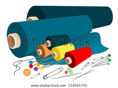 Vector fabric sewing accessories - stock vector