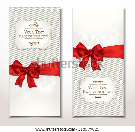 vector fabric textile banners with red bow - stock vector