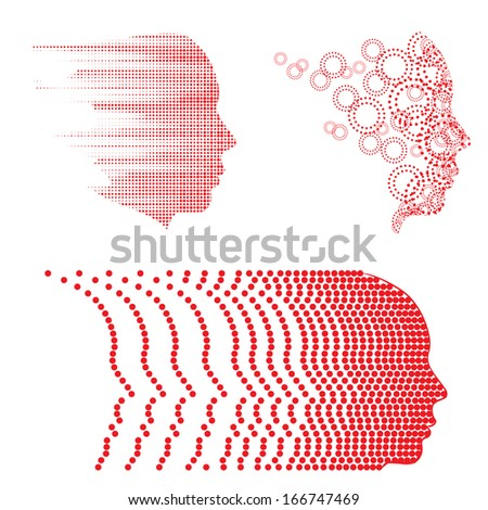 Vector face and head graphics with dot patterns. Easy to edit. - stock vector