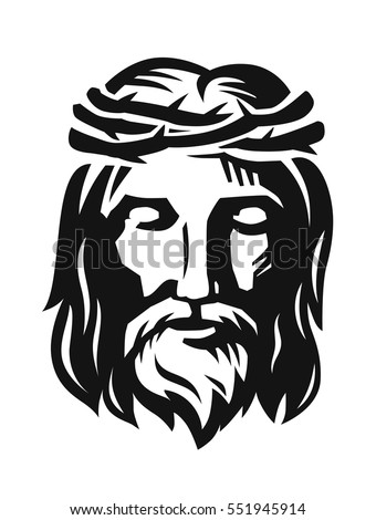 vector face jesus on white background stock vector