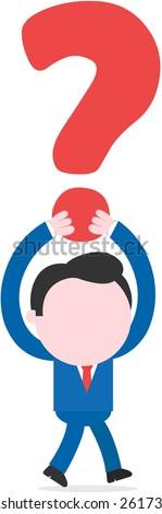 Vector faceless cartoon businessman walking lifting big question mark overhead. - stock vector