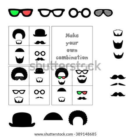 Vector. Facial hair and accessories. Mustache, beard, glasses, hat, hair. Combine items to find desired look. - stock vector