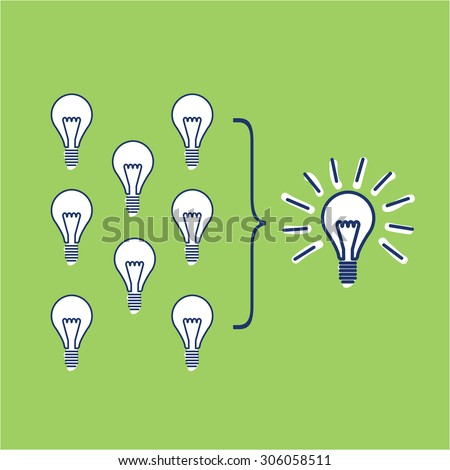 Vector facilitating skills icon of creating one big idea from many small ideas | modern flat design soft skills linear illustration and infographic on green background - stock vector