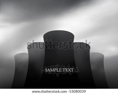 vector factory chimneys - stock vector