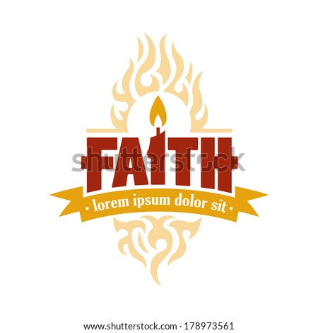 Vector Faith Candle to Flame Holy Spirit Religious Christian Illustration - stock vector