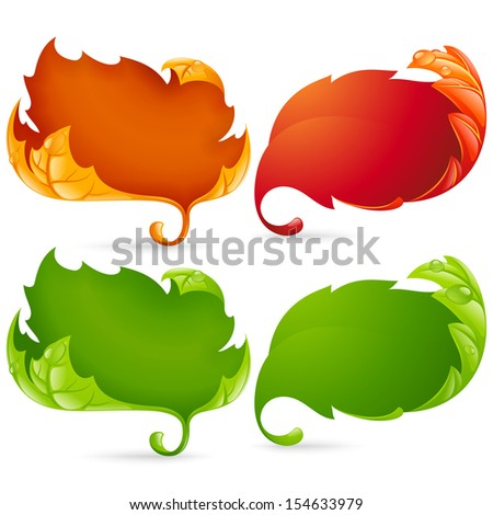 Vector fall leaf frame set isolated on white background - stock vector