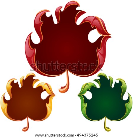 Vector fall leaves frame set in the shape of hand sign ok. Red, yellow and green leaf isolated on white background
