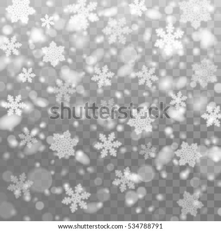 Vector falling snow. Isolated snowflakes on the transparent background