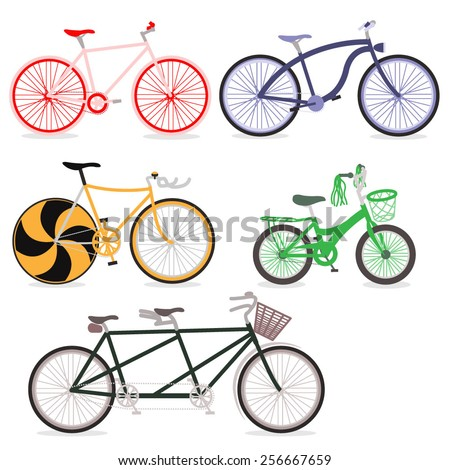Vector Family Bicycle Illustration Set
