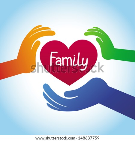 Vector family concept - heart shape and hands - stock vector