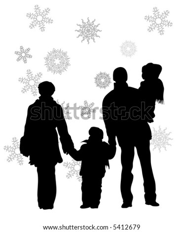 vector family of four winter