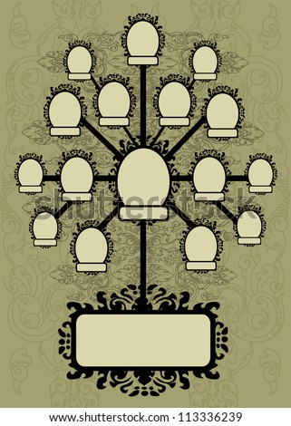 vector family tree design with frames and autumn leafs place for text