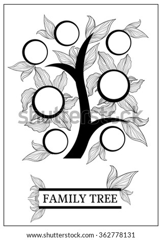 Vector family tree design with frames and autumn leafs. Place for text.  - stock vector