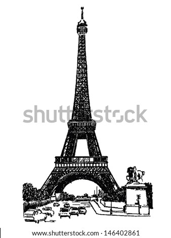 Vector famous monuments of architecture from around the world. France black and white