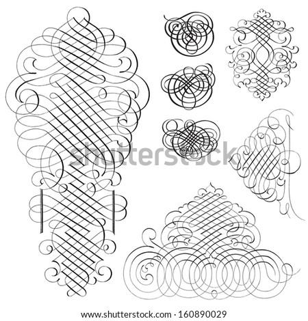 Vector fancy swirl ornament set. Great for invitations and announcements. - stock vector