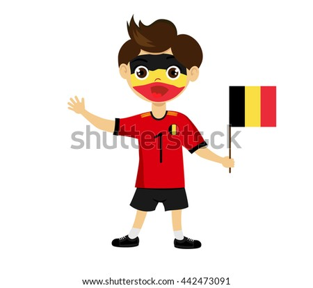 Vector.Fans of the national team of Belgium Football fans, sports fans, fans of the national team. Fan with a flag in his hands. Boy with attributes. National flags, national colors of Belgium - stock vector