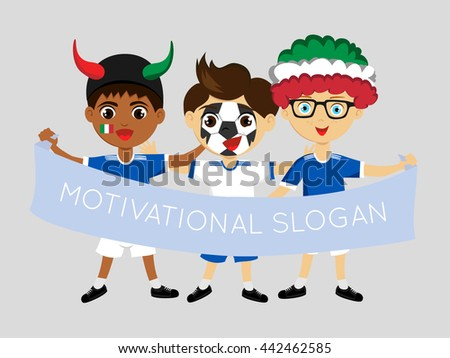 Vector.Fans of the national team of Italy Football fans, sports fans, fans of the national team. Fan with a flag in his hands. Boy with attributes. National flags, national colors of  Italy.  - stock vector