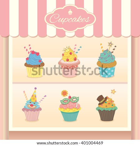 Vector fantasy cupcake display on showcase decoration in bakery cafe shop.Pastel colors in sweet pink background. - stock vector
