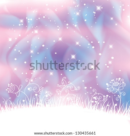 Vector fantasy landscape with polar lights forming blue swirls and magic flowers background. - stock vector