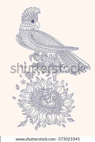 Vector fantasy stylized cockatoo jungle parrot silhouette.Exotic bird, fantastic flowers, branches, leaves. Contour thin line drawing..T-shirt print. Coloring book page for adults and children.  - stock vector