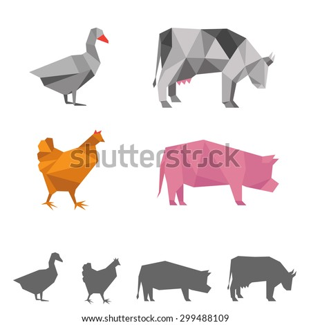 vector farm animals, origami geometric illustration, cow, pig, goose, chicken - stock vector