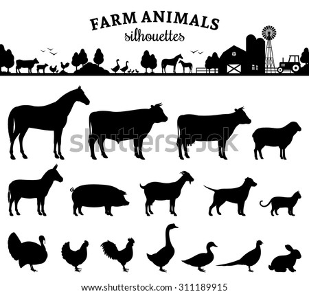 Vector farm animals silhouettes isolated on white. Livestock and poultry icons. Rural landscape with trees, plants, farm animals and farm - stock vector
