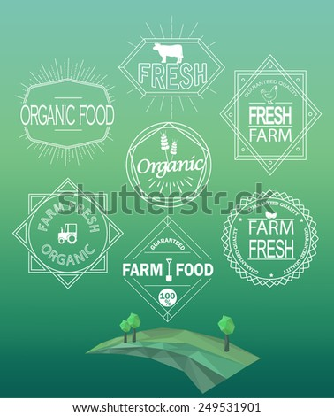 Vector farm fresh logos and emblems in outline style. Set of Retro Vintage Insignias and Logotypes.  Labels, Badges, Frames and Other Design Elements.  - stock vector