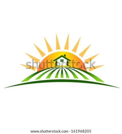 Vector Farm House with sun - stock vector